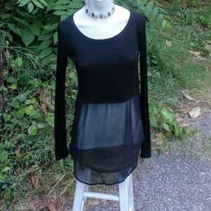 BEBE black long sleeve scoop neck 1/2 sheer tunic